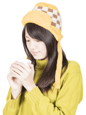 Pretty girl with hot coffee Stock Photo