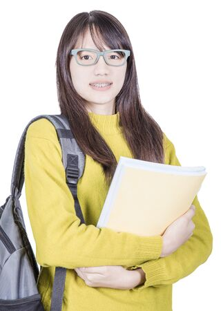 Asia beauty girl student holding books and backpack