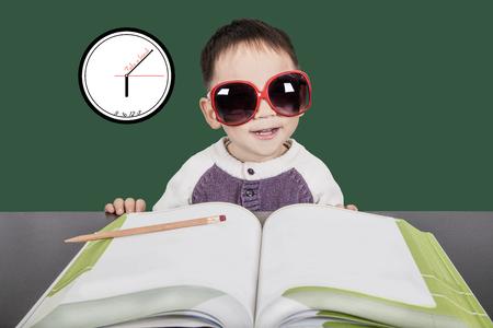 Smart kid study and take a break.