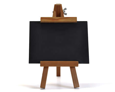 young schoolchild: Small blackboard on easel for your text – might be a restaurant´s menu, announcing a special offer or opening of a new store, a back to school announcement or whatever you want to communicate.