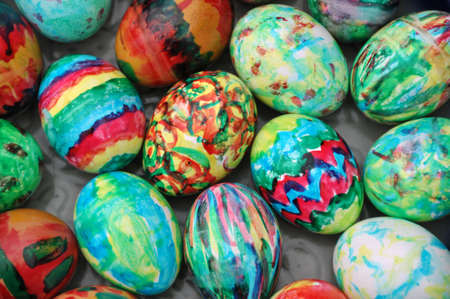 Collection of colourful easter eggs background