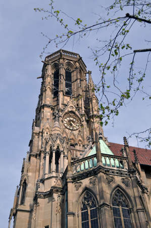 neogothic: Johannes church in the middle of Feuersee in Stuttgart, Germany - the church tower was destroyed during world war two. The lake was serving as water resort for the fire brigades many years ago... Stock Photo