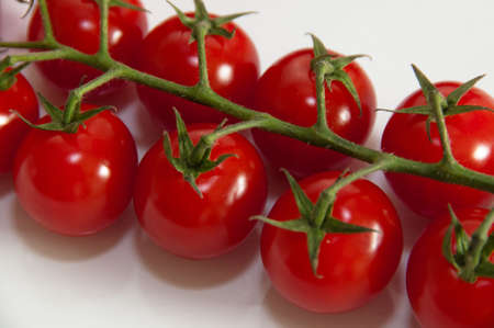 Cherry tomatoes on the vine photo