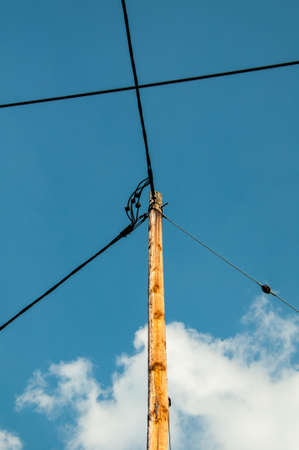 amp tower: Telephone pole and wires  Stock Photo