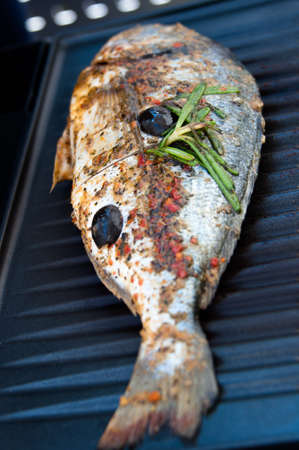 Gilthead Seabream fish on BBQ photo