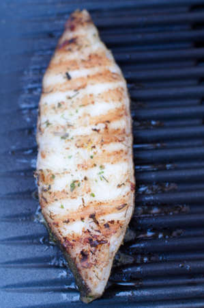 Halibut fillet on BBQ Stock Photo - 15194796
