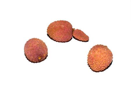 Exotic lychee fruit on white background photo