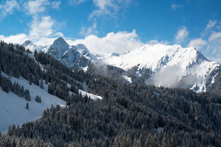 Ski resort in the Alpes in a valley of Montafon photo