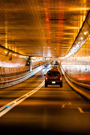 Traffic in Lincoln tunnel, New York city 版權商用圖片
