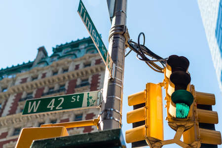 42nd: the intersection of 42nd street and Times Square in New York City. Stock Photo