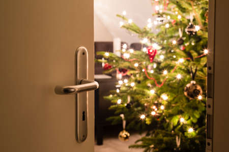 Interior shot of a modern living room with a Christmas tree as seen through the living room door