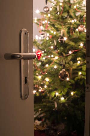 リビング ルームのドアを通して見たクリスマス ツリーでモダンなリビング ルームの内部のショット