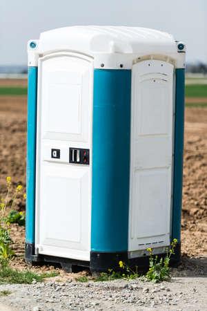 latrine: Blue Portable Toilet Stock Photo