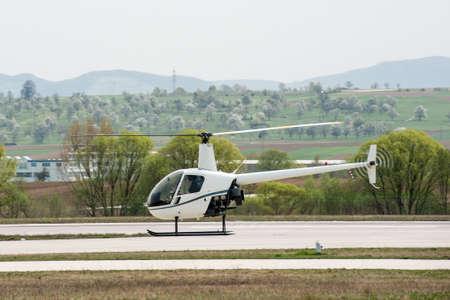 heliport: Helicopter in flight