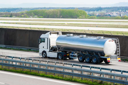 tanker truck on highway photo