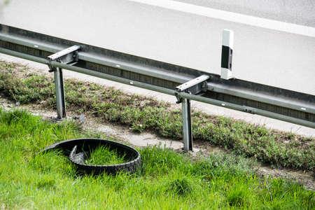 guard rail: Broken Truck Tyre