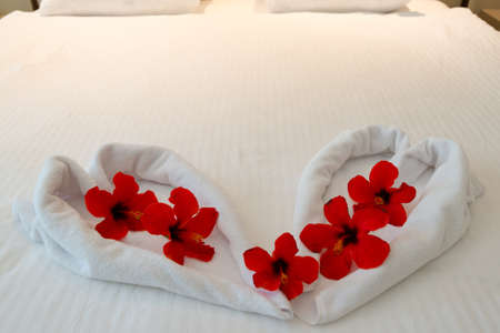 heart made from towels on honeymoon bed photo