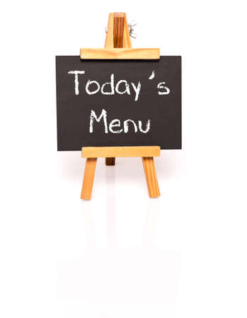easel: Todays Menu. Blackboard with text and easel.