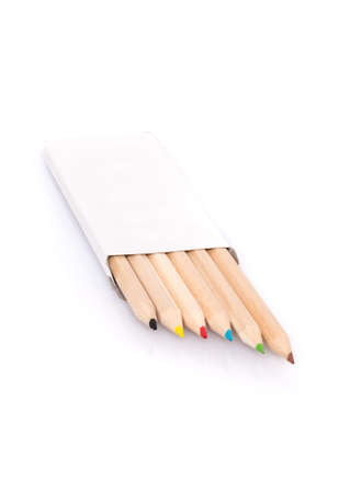 color pencils: Various color pencils in box on white background Stock Photo