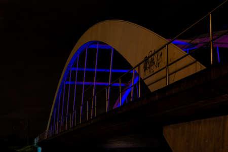 Railway bridge at night photo