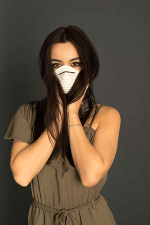 protective: Attractive woman with protective mask Stock Photo