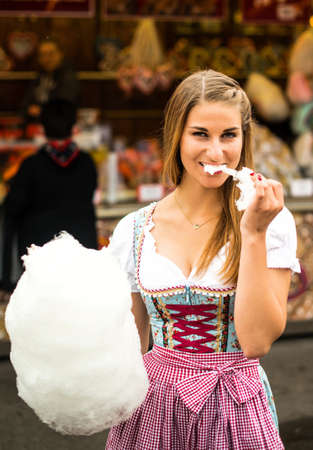 wiesn: Beautiful woman with cotton candy