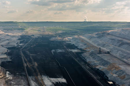 browncoal: Very large excavators at work in one of the worlds largest lignite (brown coal) mines in Hambach, Ruhr Area in Germany