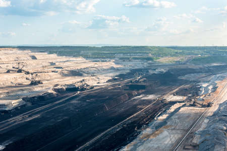 rwe: Very large excavators at work in one of the worlds largest lignite (brown coal) mines in Hambach, Ruhr Area in Germany