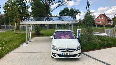 Merceds B-CLass electric car being charged
