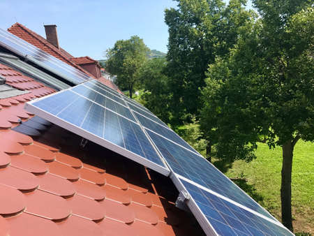 House roof with solar panels on top