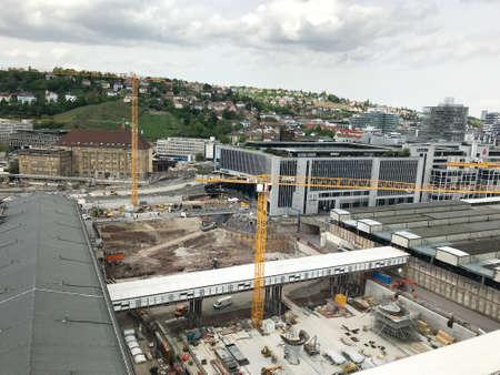 Construction site at Stuttgart main station for the Stuttgart21 railway project