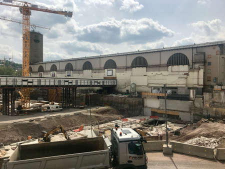 Construction site at Stuttgart main station for the Stuttgart21 railway project