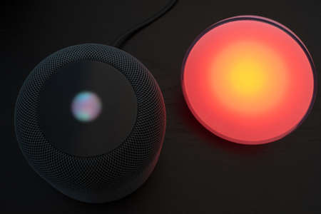 Using an Apple HomePod speaker to control a smart light