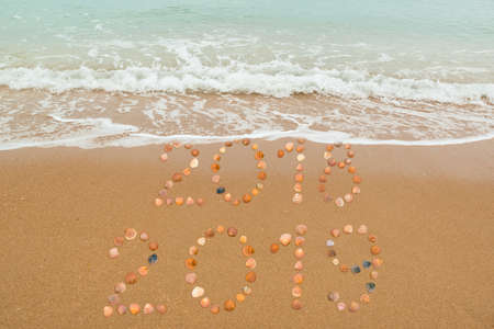 Happy New Year 2019 concept: The waves are about to cover 2018, both years placed with seashells on the beach