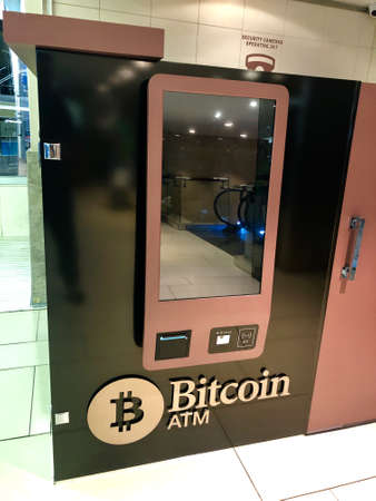 Bitcoin ATM in shopping mall in Johannesburg, South Africa Editorial