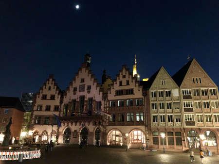 beautiful old town square in Frankfurt at night