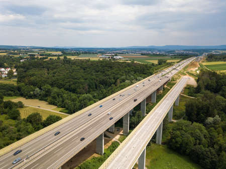 Aerial view of a German Autobahn with construction works