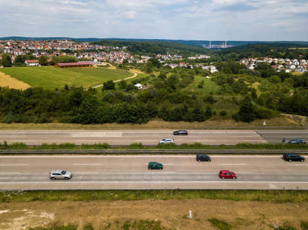 Aerial view of a German Autobahn