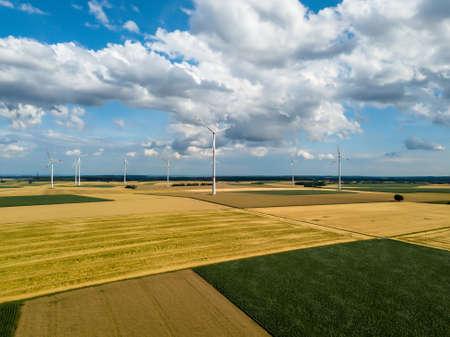 wind turbines in corn fields