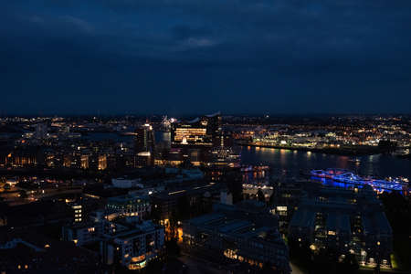 View of the harbor and the new Elbphilharmony of Hamburg at night