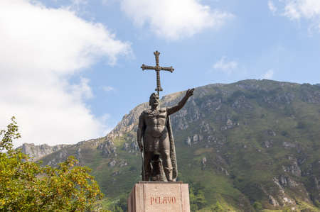 The statue of Don Pelayo, first king of Asturias. Located in Covadonga, Asturias, Spain. Stock Photo