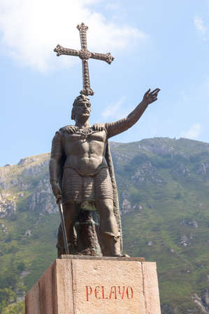 covadonga: The statue of Don Pelayo, first king of Asturias. Located in Covadonga, Asturias, Spain. Stock Photo
