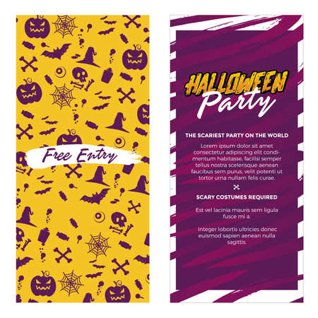 Halloween vertical Banners. Party Invitation or menu design. Vector Illustration.Place for your text. grunge style