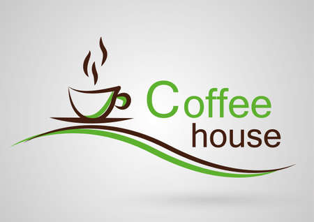 Simple Logo coffee house green Vector
