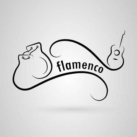 flamenco. Guitar, castanets Illusztráció