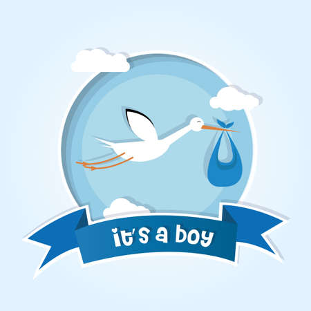 baby boy announcement: Stork bringing a child into the world. Male child card