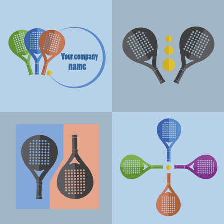 Symbols and paddle racket sports Vectores
