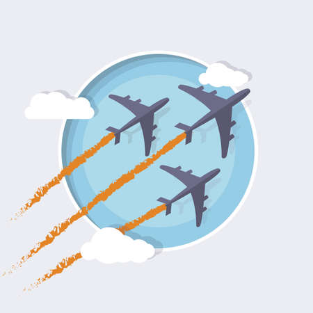 supersonic transport: Three ultra fast planes with colored smoke.  Illustration