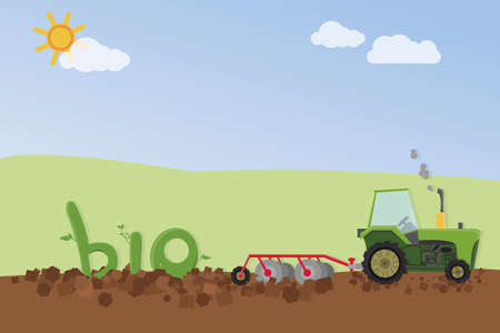 Tractor sowing bio products.  Vector