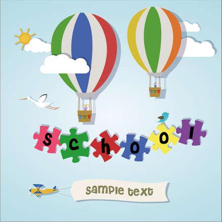 come back: School sky Illustration